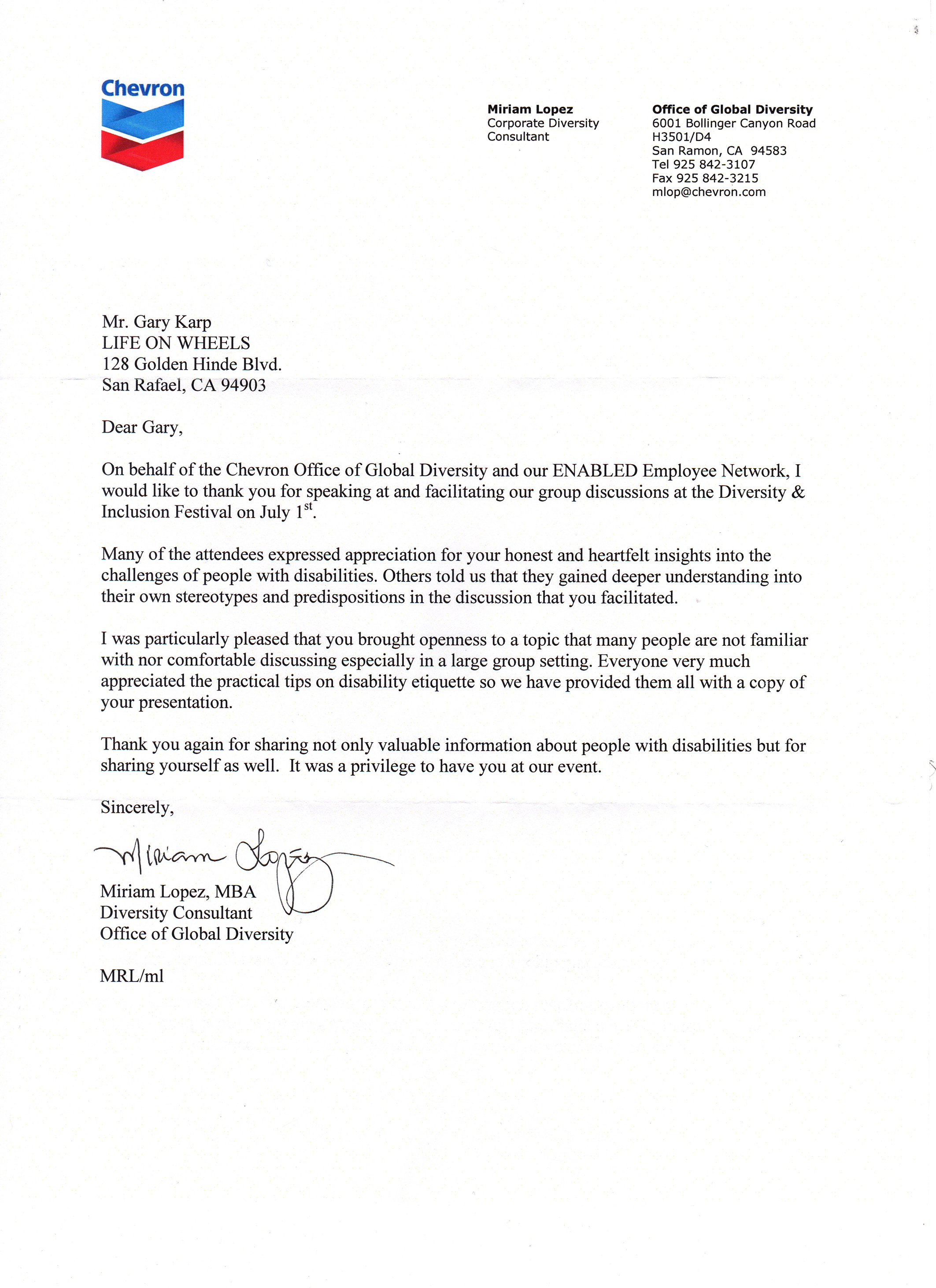 Image of Chevron Corporation testimonial letter. Click for text version.