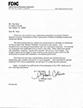Thumbnail of FDIC testimonial letter