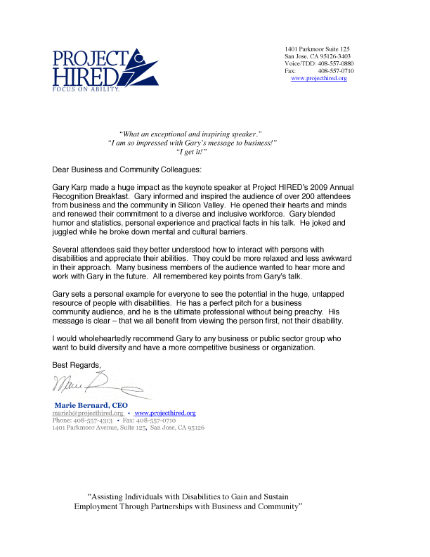Image of Project Hired Testimonial letter. Click for page with text.