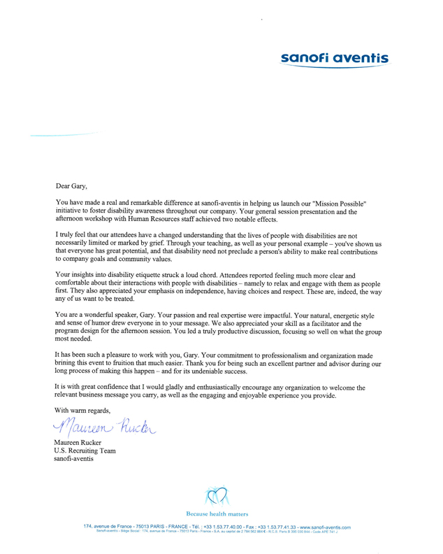 Image of Sanofi Aventis testimonial letter. Click for text version.