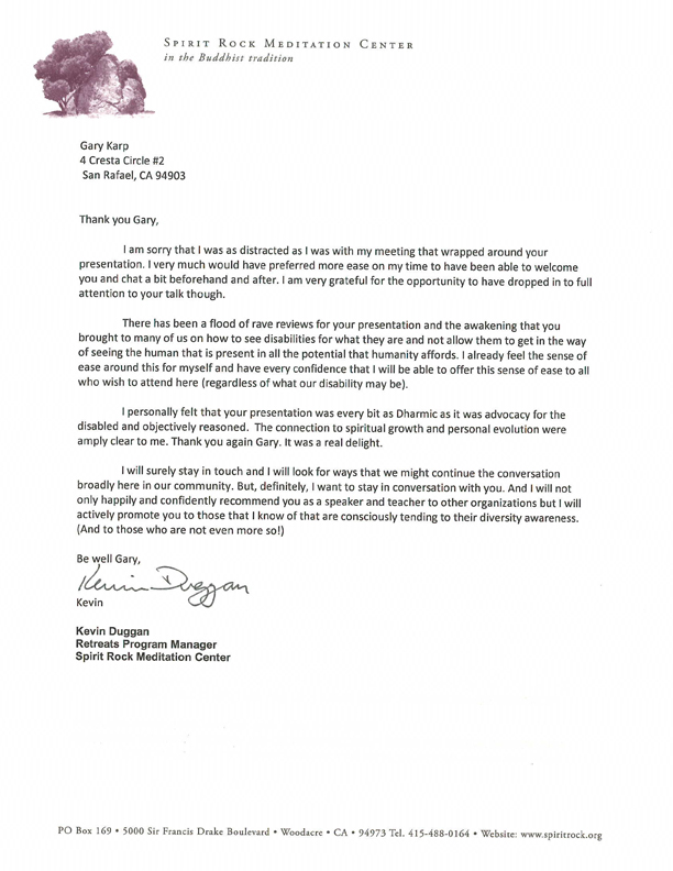 Spirit Rock Meditation Center testimonial letter