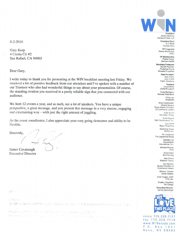 WIN Nevada testimonial letter (click for text version)